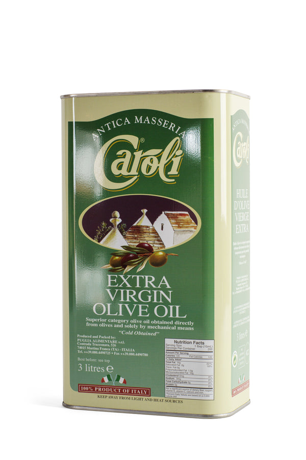 Caroli USA, Inc Extra Virgin Olive Oil 101oz Tin Caroli Classic Italian Extra Virgin Olive Oil. First cold press. Delicious flavour!