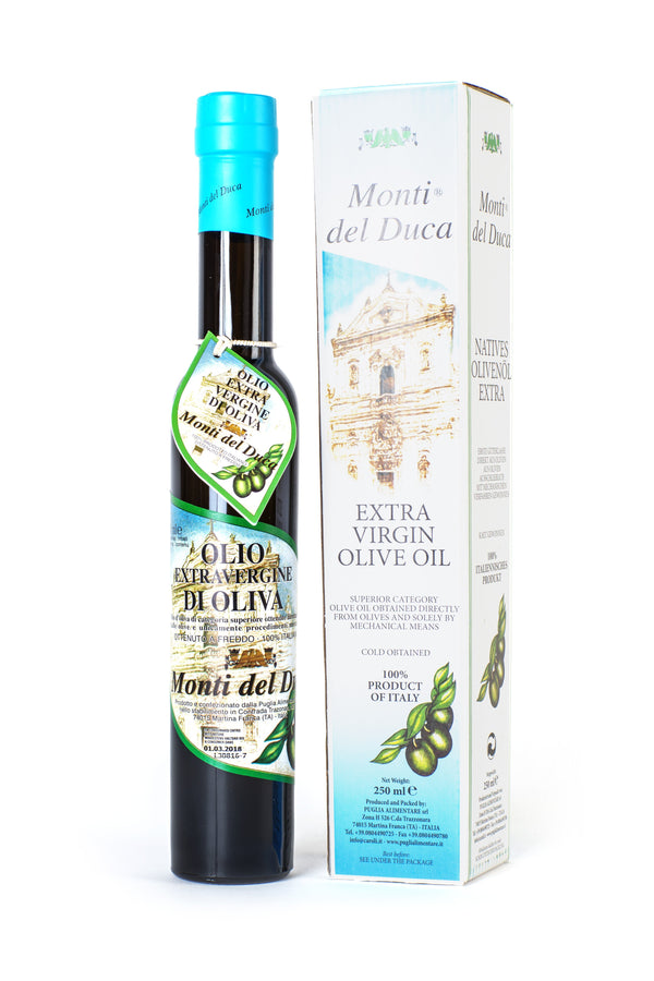 Caroli USA, Inc Extra Virgin Olive Oil Italian Monti Del Duca Extra Virgin Olive Oil 500 mL (16 fl oz) Special Edition Long. Cold Pressed.