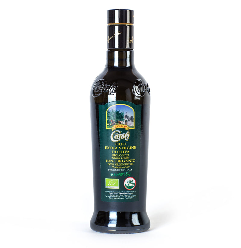 Caroli USA, Inc Extra Virgin Olive Oil Italian Organic Extra Virgin Olive Oil 500 mL (16 fl oz). Cold Pressed.