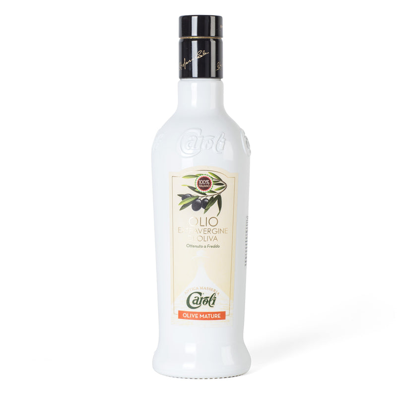 Caroli USA, Inc Extra Virgin Olive Oil Mature Olives in White Bottle Caroli Italian Extra Virgin Olive Oil 500 mL (16 fl oz). Cold Pressed. Awards Winner