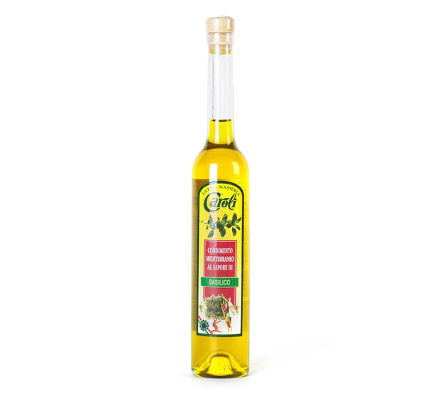 Caroli USA Flavour Extra Virgin Olive Oil EXTRA VIRGIN OLIVE OIL 100 ml (3.4 fl oz) Basil Flavor in Gardenia Bottle. Cold Pressed.