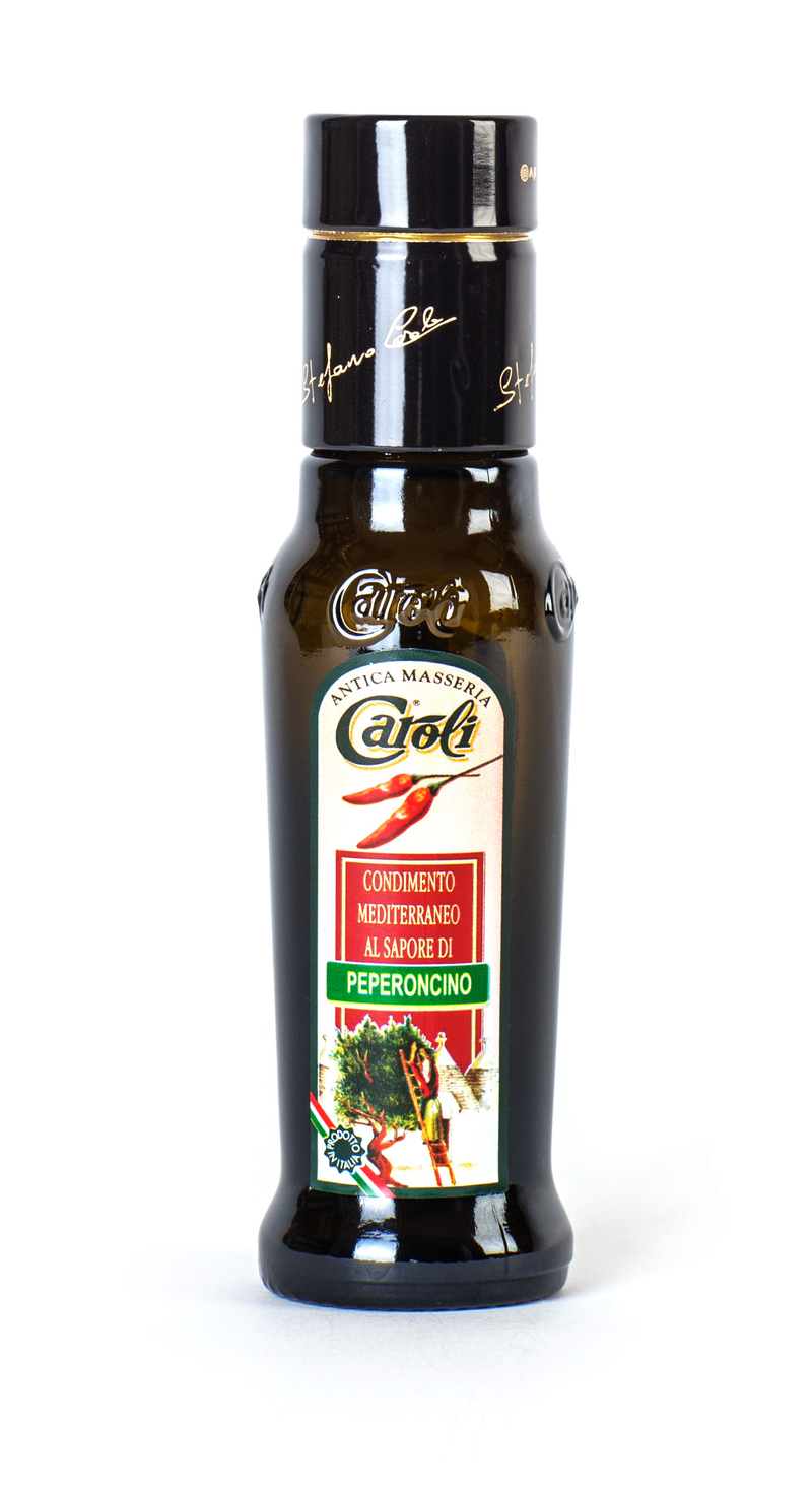Caroli USA, Inc Flavour Extra Virgin Olive Oil Hot Pepper - 3.4oz Rounded Bottle Caroli EXTRA VIRGIN OLIVE OIL 100 ml (3.4 fl oz) Flavored. Cold Pressed.