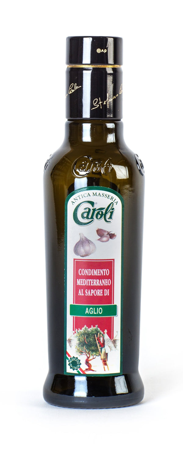 Caroli USA, Inc Garlic - 8.4 oz Round Bottle Caroli EXTRA VIRGIN OLIVE OIL 250 ml (8.4 fl oz) Flavored. Cold Pressed.