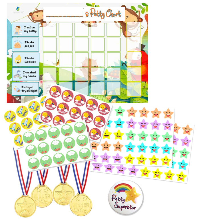 Potty Training Reward Chart  with 140+ Stickers, Reward Medals, Completion Badge