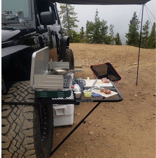 aluminum tailgater table on jeep