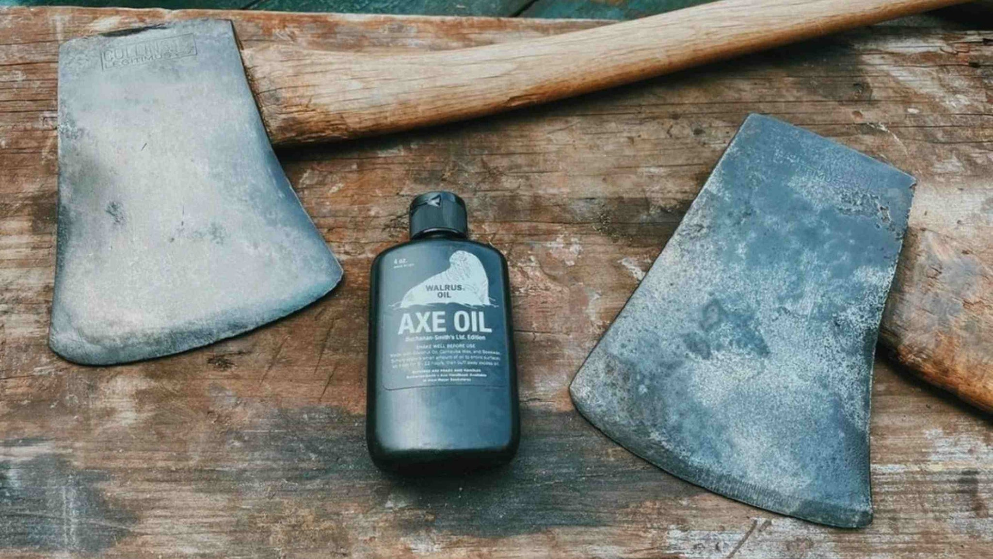 axe oil and two axes