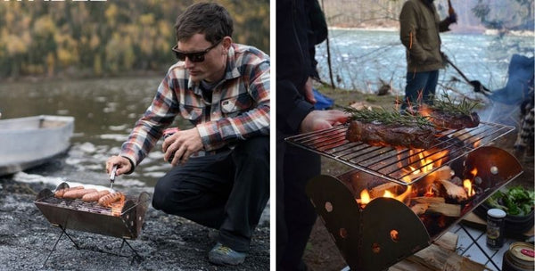 camping with an Uco Flatpack grill