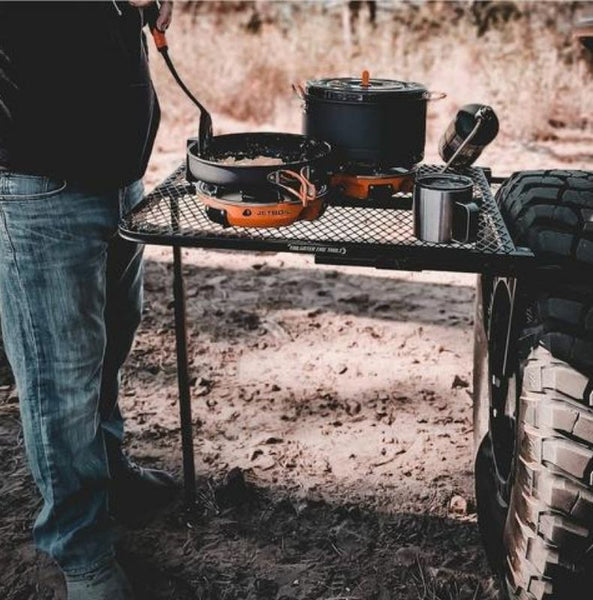 cooking on aluminum tailgater table
