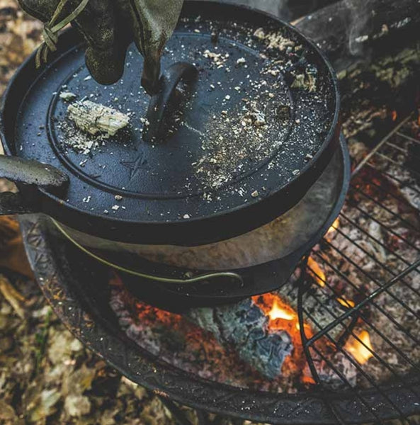 dutch oven on fire