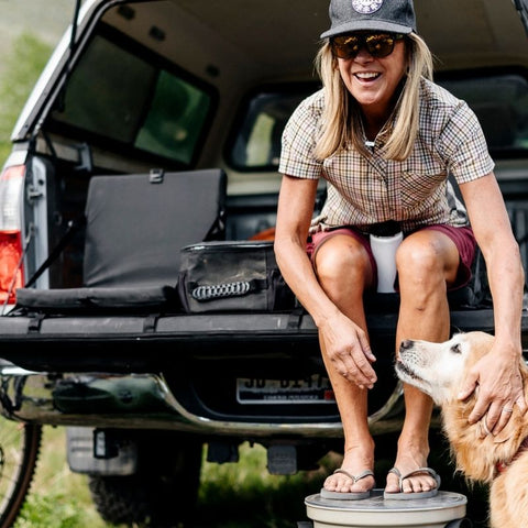 Tailgate pad - woman and dog