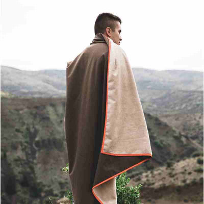 belmont blanket on man