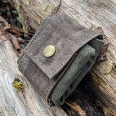 waxed canvas foraging pouch in green