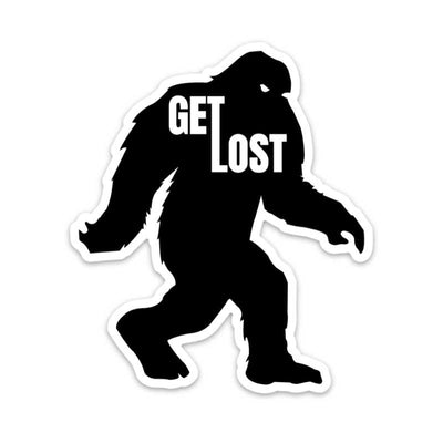 Get Lost Wandering Bigfoot Sticker