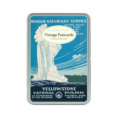 national parks postcard set - tin