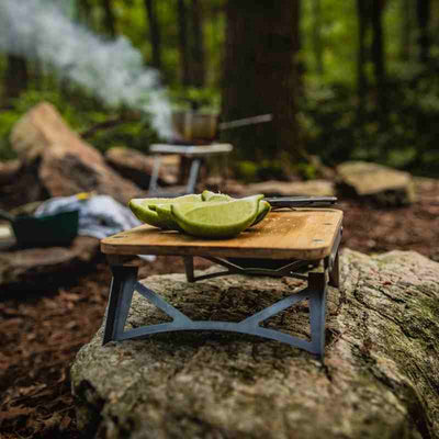 camping cutting board with limes