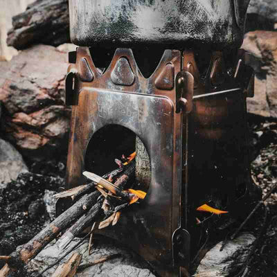 stoker stove with flames