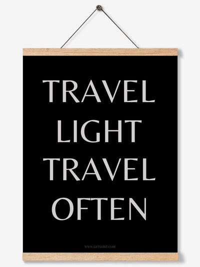 travel light travel often wall print by getlost.com