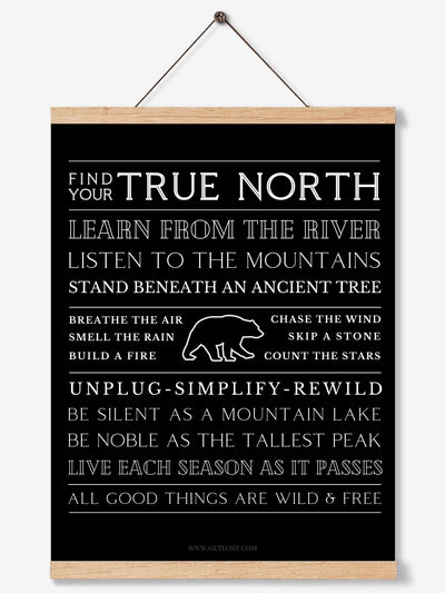 true north art print on teak hanger