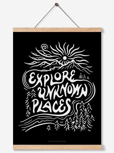 Explore Unknown Places - Premium Art Print on Teak Hanger