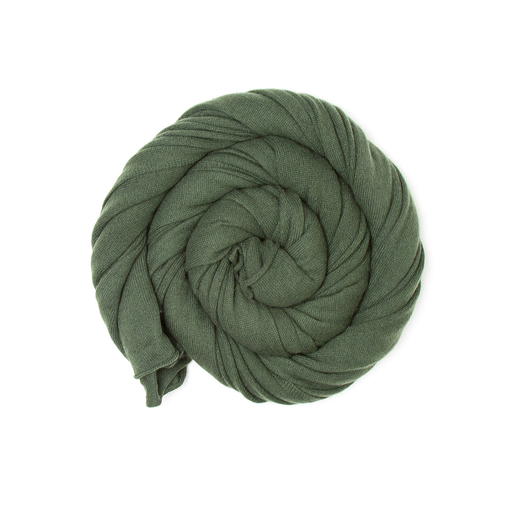 Olive Green Pure Cashmere Scarf