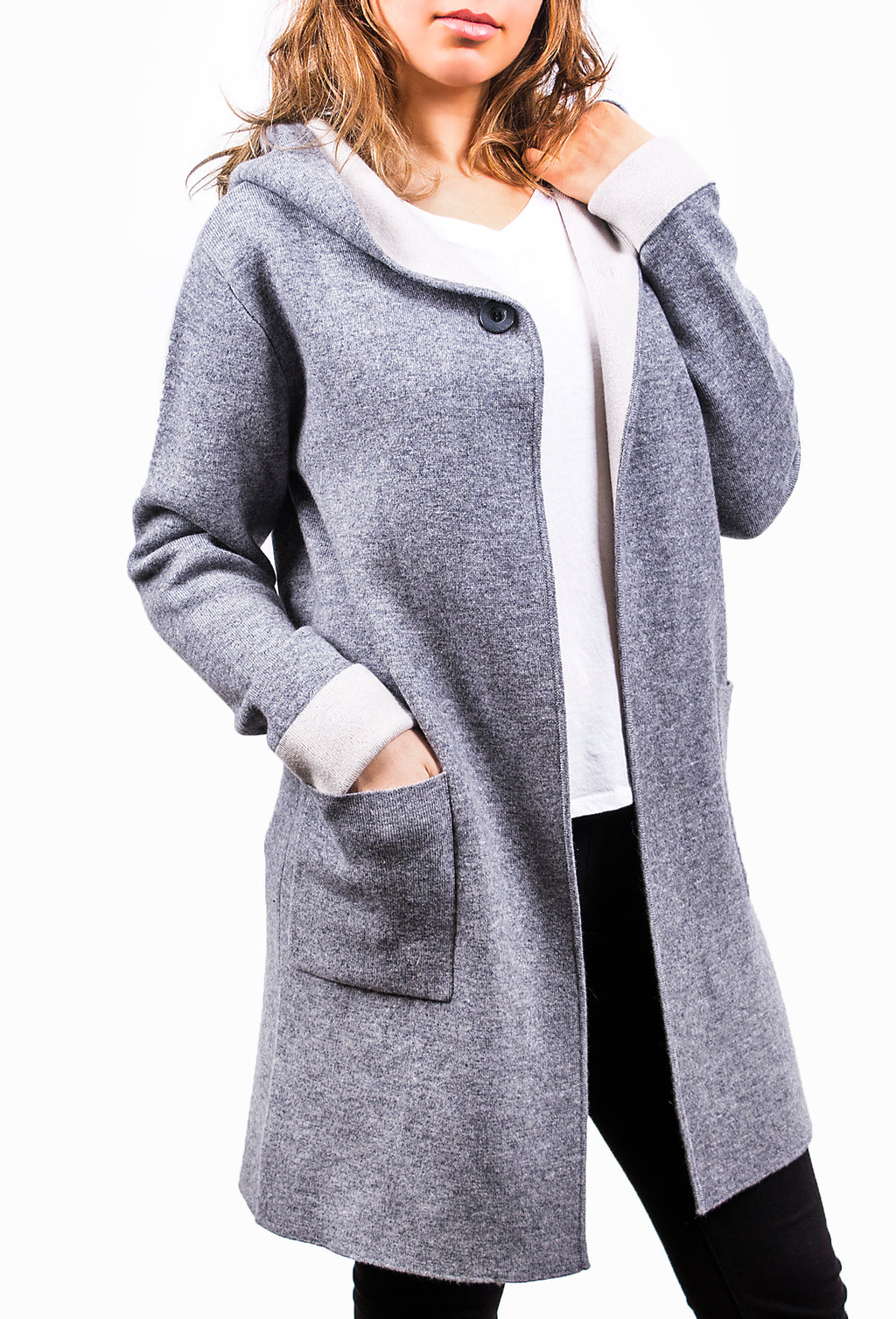 Grey Pure Cashmere Coat
