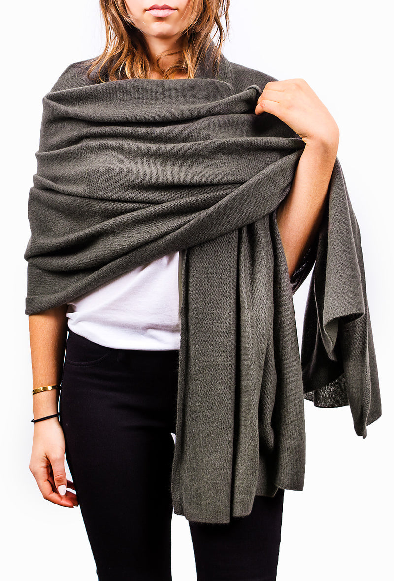 Green Grey Pure Cashmere Scarf