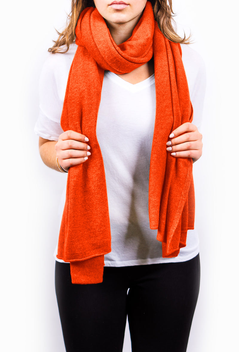 Orange Pure Cashmere Scarf