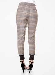 High Waisted Jogger in Brown Plaid