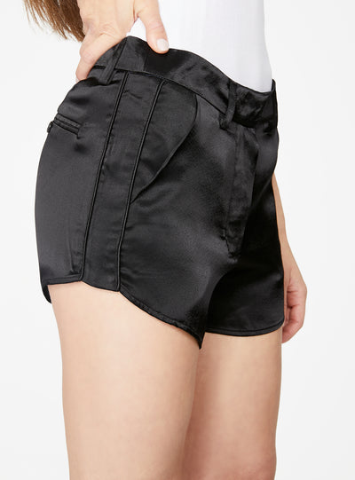 Black Curved Hem Satin Short