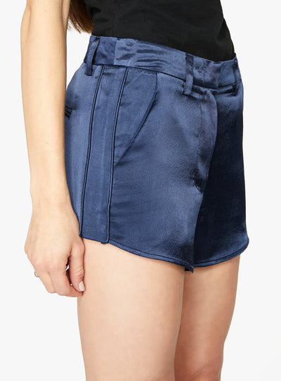 Navy Curved Hem Satin Short
