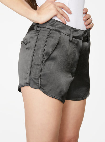 Olive Curved Hem Satin Short