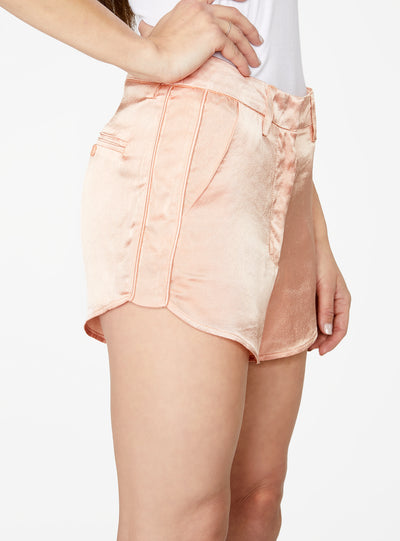 Peach Curved Hem Satin Short