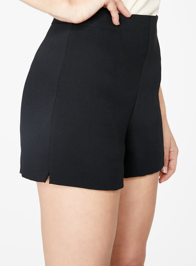 Black High Waisted Suiting Short