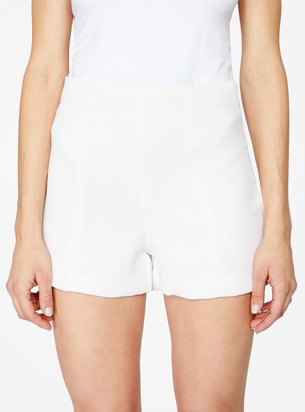 White High Waisted Suiting Short