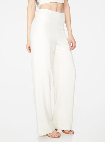 Creme High Waisted Relaxed Side Zip Trouser