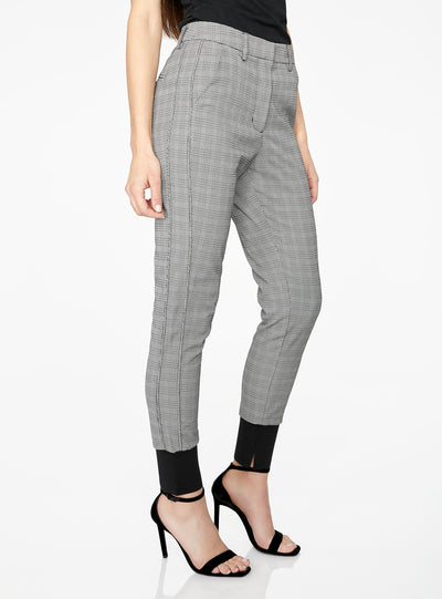 High Waisted Jogger in Black Houndstooth