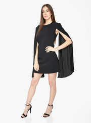 Black Mini Dress with Pleated Sleeves