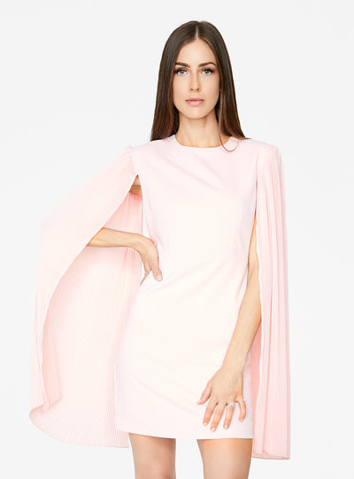 Light Pink Mini Dress with Pleated Sleeves