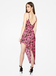 Fuchsia and Black Asymmetric Floral Dress