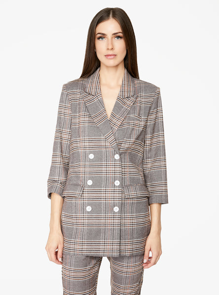 Brown Double Breasted Plaid Blazer