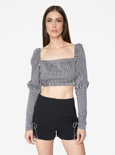 Victorian Cropped Blouse in Black and White Stripes