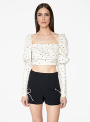 Victorian Cropped Blouse in Ivory Polka Dot