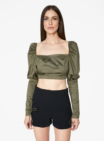Victorian Cropped Blouse in Olive