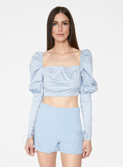 Victorian Cropped Blouse in Baby Blue