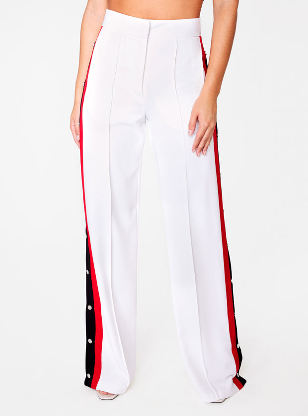 Off White High Waisted Relaxed Side Snap Trouser