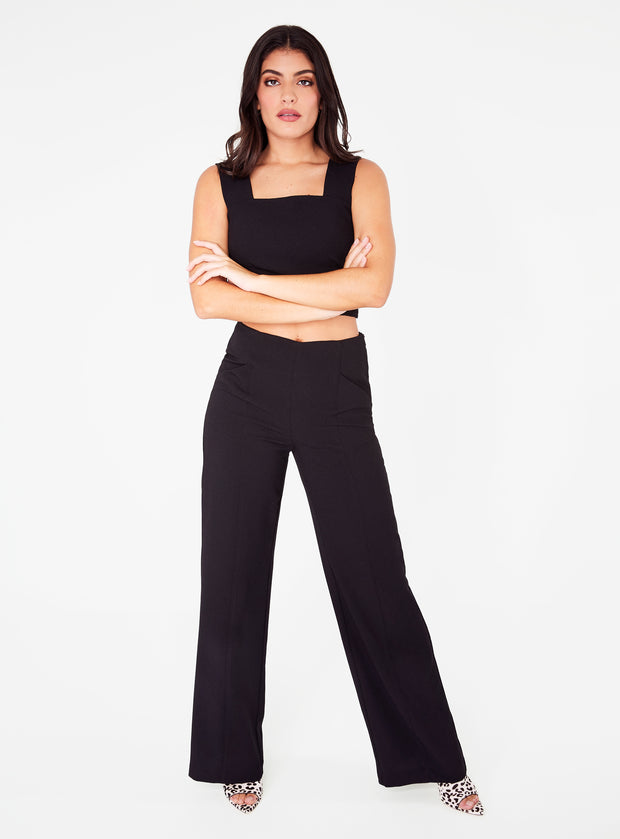 Black High Waisted Relaxed Side Zip Trouser
