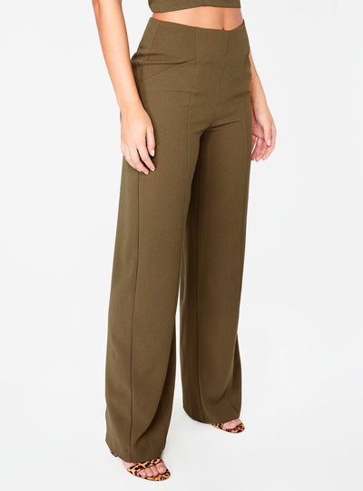 Olive High Waisted Relaxed Side Zip Trouser