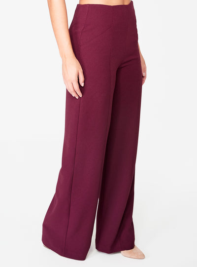 Wine High Waisted Relaxed Side Zip Trouser