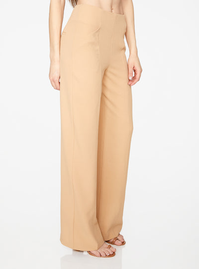 Camel High Waisted Relaxed Side Zip Trouser