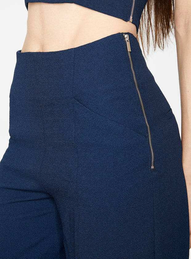 Indigo High Waisted Relaxed Side Zip Trouser